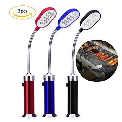 YoungRich 3 Pack Barbecue Grill Light Magnetic Flexible Lightning 15 Ultra-Bright LED Lights 360 ...
