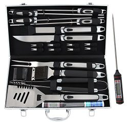 ROMANTICIST 21pc BBQ Grill Accessories Set with Thermometer – Heavy Duty Stainless Steel B ...