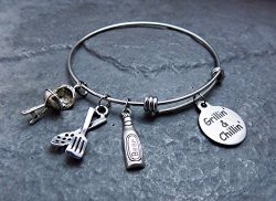 Grillin and Chillin Charm Bracelet Expandable Stainless Steel Bangle with BBQ Grill Beer and Spatula