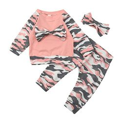 Nevera 3Pcs Newborn Toddler Baby Camouflage Bow Tops Pants Outfits Set Clothes (70, Pink)