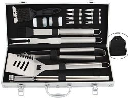 ROMANTICIST 21Pc Heavy Duty Stainless Steel BBQ Grill Tool Accessories Set – Outdoor Campi ...