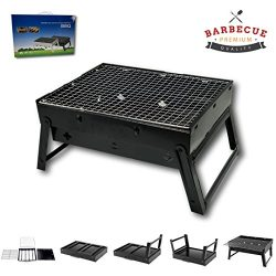 McWay Charcoal Barbeque Grill Foldable and Portable – Lightweight – Rust-Free- Easy to Set Up –  ...