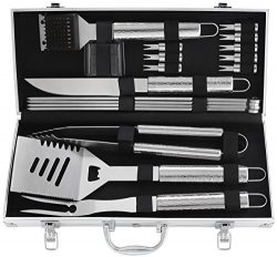 POLIGO 19pcs Heavy Duty BBQ Grill Tool Set with Non-slip Handle Stainless Steel BBQ Accessories  ...