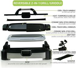 Ovente Reversible Electric Grill and Griddle with Heat Tempered Glass Lid, Indoor and Outdoor Gr ...