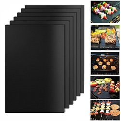 BBQ Grill Mat, Set of 6-100% Non-stick and Heat Resistant BBQ Grill & Baking Mats Used in Ga ...