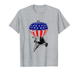 Mens USA Charcoal Kettle Grill T-Shirt Stars and Stripes July 4th Small Heather Grey