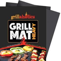 Grillaholics BBQ Grill Mat Heavy – 600 Degree Max Temperature Grilling Sheets – Set  ...