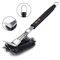 IREGRO Grill Brush and Scraper, 3 in 1 Strong and Durable Stainless Steel BBQ Grill Cleaning Bru ...