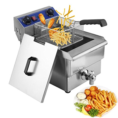 Homgrace Commercial Electric Single Tank Deep Fryer, Professional 13L Countertop Stainless Steel ...