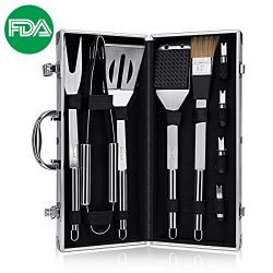 DISCOBALL BBQ Grill Tools Set, Stainless Steel Utensils with Aluminium Case 9 Barbecue Accessori ...