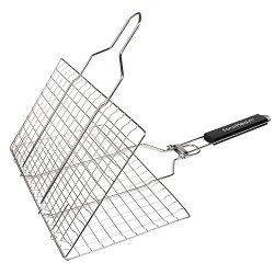 Fourheart Portable BBQ Grilling Basket with Long Handle, Stainless Steel Barbeque Grill Basket F ...