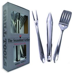 The Seasoned Griller 3 Piece Grilling Tool set, Fork, Spatula & Tongs, Heavy Duty Premium St ...