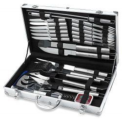 31 Piece Stainless Steel BBQ Accessories Tool Set – Includes Aluminum Storage Case for Bar ...