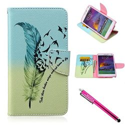 Galaxy Note 4 Case, Firefish [Kickstand] Note 4 Case Leather Wallet Bumper Slim Shock Absorption ...