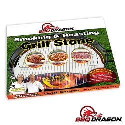 BBQ Dragon Heat Deflecting Grill Stone, Smoking Stone & Pizza Stone for 22″ Weber Kett ...