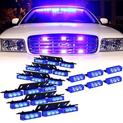 DT MOTO™ Blue 54x LED Volunteer Vehicle Dash Grill Deck Strobe Warning Lights – 1 set