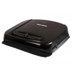 George Foreman 6-Serving Removable Ceramic Plate Electric Indoor Grill and Panini Press with Adj ...