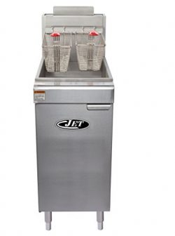 JET JFF3-40L Commercial 40lb 3 Tube Floor Gas Deep Fryer 90,000BTU Per Hr Liquid Propane LP Gas, ...