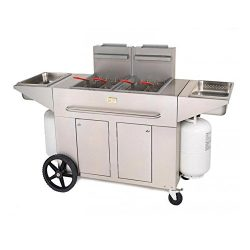 Crown Verity CV-PF-2NG 53″ Double Tank Outdoor Portable Fryer with 180 000 BTU/H 80 lbs. C ...