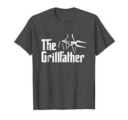 Mens The Grillfather Funny BBQ Dad BBQ Grill Dad Grilling T Shirt Large Dark Heather