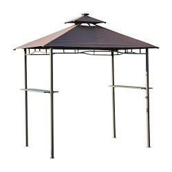 Outsunny 8' x 5' Two-Tier Outdoor BBQ Grill Gazebo w/ LED Lights and Bar Shelves – Black/C ...