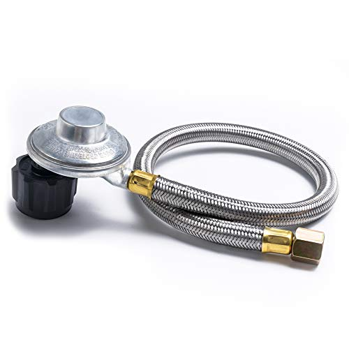 SHINESTAR 21-inch Right Angle Stainless Steel Braided Propane Hose Regulator Replacement Weber G ...