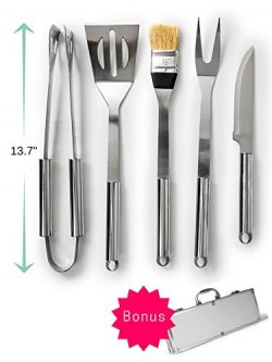 BBQ Grill Tools Set – 5 Pieces – Aluminium Storage Case – Made of Durable Rush ...