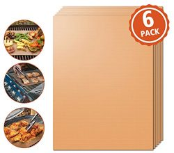 Kohi Copper Grill Mats Non Stick for Gas Grill Charcoal Grill, Heavy Duty Reusable Dishwasher Sa ...