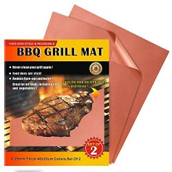 iMarku Grill Mat Set of 2,Non-stick BBQ Grill & Baking Mats for Charcoal, Electric and Gas G ...