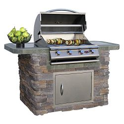 Cal Flame LBK-601-AS Outdoor Kitchen Island with 4-Burner Built in Grill 27″ Stainless ste ...