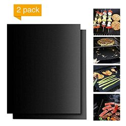 SunBeauty Mall BBQ Grill Mats [ Set of 2 ] Non-Stick Barbecue Grill Mats, Heavy Duty, Reusable,  ...