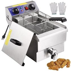 Yescom Commercial Professional Electric 11.7L Deep Fryer Timer and Drain Stainless Steel French  ...
