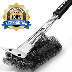 Grill Brush & BBQ Cleaning Scraper – 100% Rust Resistant 18″ Stainless Steel Gri ...