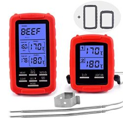 Wireless Meat thermometer – digital grill oven or smoker remote food thermometers, Wireles ...