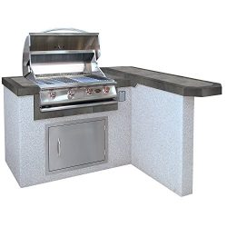 Cal Flame LBK-401R-A Outdoor Kitchen Island with Bar with 4-Burner Built in Grill 27″ Stai ...