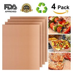 Grill Mat Set of 4, Heavy Duty 100% Non-stick BBQ Grill Mat, Durability reused and easy to clean ...