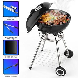 Wemk Portable Thickened Stainless Steel Charcoal Grill with 18in Cooking Grate, Barbecue Tool Se ...