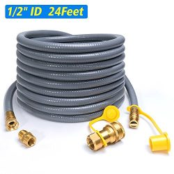XHome 24 Feet 1/2″ ID Natural Gas Hose, Propane Gas Grill Quick Connect/Disconnect Hose As ...