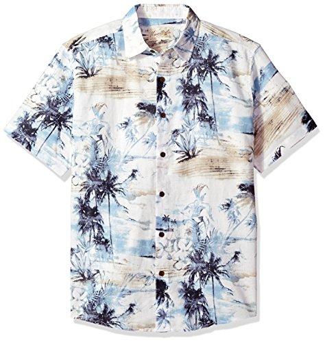 Margaritaville Men's Relaxed Fit Short Sleeve 100% Cotton BBQ Shirt, Multi Island Print, Large