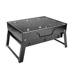 Woby BBQ Charcoal Grill Small Foldable Portable Lightweight Tabletop Barbecue Grill Cooker for O ...