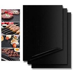 Vanzon Grill Mat Set of 3,100% Non-Stick BBQ Grill Mats – FDA-Approved, PFOA Free, Reusabl ...