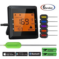 Bluetooth Meat Thermometer, Instant Read Cooking Thermometer with 6 Probes, APP WIFI Remote, Ala ...