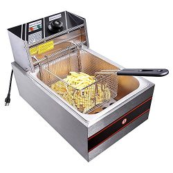 Yescom 2500W 6L Commercial Electric Countertop Stainless Steel Deep Fryer Basket French Fry Rest ...
