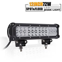 12 Inch Led Light Bar, TURBOSII 72W Light Bar Led Light 12V LED Work Light Spot Flood Combo Beam ...
