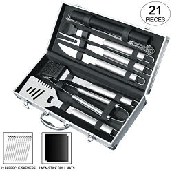 Slashome 21 Pieces BBQ Grill Tools Set Heavy Duty Stainless Steel Barbecue Grilling Utensils Inc ...