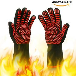 BBQ Grill Gloves [NEWEST] 1472℉ EN407 CE Heat Resistant – Oven Silicone Glove Fireproof fo ...