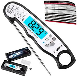 Instant Read Meat Thermometer – Best Waterproof Ultra Fast Thermometer with Backlight & ...
