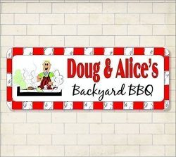 Personalized BBQ Grill Sign Smoke Grilling Master Custom House Smoker Backyard Plaque Deck Name  ...