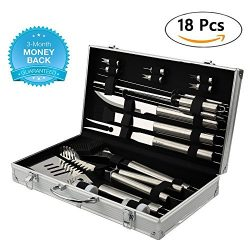BBQ Grill Tools Set with 18 Barbecue Accessories – Stainless Steel Utensils with Portable  ...