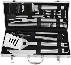 POLIGO 20pcs Stainless Steel BBQ Grill Tools Set – Complete Outdoor BBQ Grill Utensils Set ...